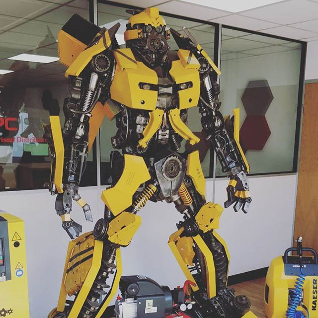 Probably the coolest receptionist we've had the pleasure of meeting when visiting clients. Hats off to Kingsdown Compressed Air Systems for taking the office decor game up a notch! . . . . #Transformers #Bee #Bumblebee #Cybertron #bumblebeemovie #autobot #comaro #beetle #bumblebeetransformer #bumblebeetransformers #transformersbumblebee #kcair