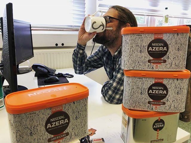 Its #internationalcoffeeday and our resident coffee enthusiast is in his element. ☕☕ Before Simon started we had no idea you could buy these huge 500g tins of coffee... in bulk! . . #coffee #coffeeholic #coffeeday #azeracoffee #officejokes #agencylife #kentbusiness #webagency #developer #webdeveloper #caffeine #NescafeAzera #americano